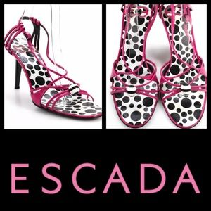 👠Escada Pink + Polka Dot Strappy Stilettos 👠